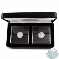 Pair of Ancient Roman Coins - Marcus Aurelius - Life and Death Issued Coins. Each coin is encapsulat