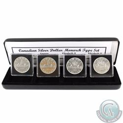 Canadian Silver Dollar Monarch 4-coin Type Set. You will receive the 1936 George V, 1951 George VI,