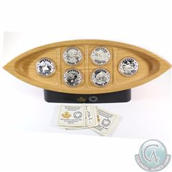 2015 Canada $10 Canoe Across Canada 6-Coin Set with Deluxe (Canoe Shaped) Wooden Box(TAX Exempt). Y