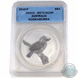 2010P Australia $1 Kookaburra ANACS Certified MS70 (Tax Exempt)