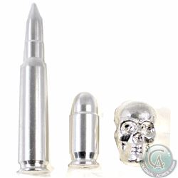 Lot of 2x Fine Silver Bullets and 1x Fine Silver Skull (Tax Exempt). You will receive the 2 oz Silve