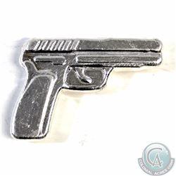 Silver 38 Caliber 3D Pistol Handgun .999 Fine Silver (weighs 38 grams). Tax Exempt