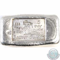 Beaver Bullion 5 oz Fine Silver Bar (Tax Exempt)