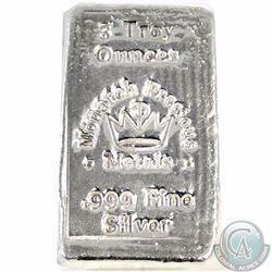 Hand Poured Monarch Precious Metals 3oz. .999 Fine Silver Bar (Tax Exempt)