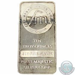 First Majestic 10 oz Fine Silver Bar - FM Logo (Tax Exempt) Toned