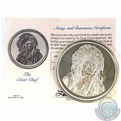 1987 $50 The Silver Chief 999 Fine Silver Bullion Coin with COA (Tax Exempt) Toned