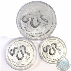 3x 2013 Australia 2oz, 5oz, 10oz Lunar Year of the Snake Coins (Tax Exempt) 3pcs