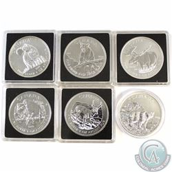 All 6x 2011-2013 Canada $5 Wildlife Series 1oz .9999 Fine Silver Coins. This lot includes the 2011 W