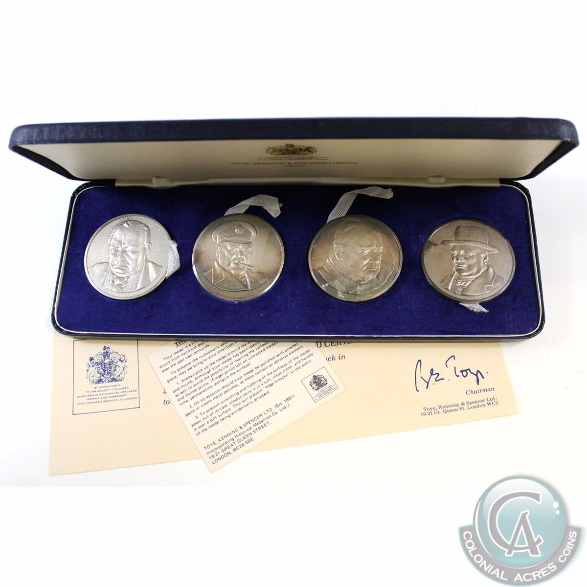 1974 Toye, Kenning & Spencer Limited 4-coin Sterling Silver Churchill  Centenary Commemorative Medall