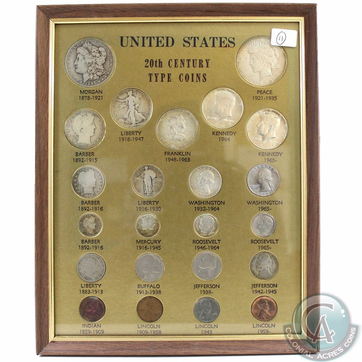 Estate Lot: United States 20th Century Type Coins Framed Set  You will  receive an example of every c