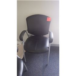 Black leather office arm chair