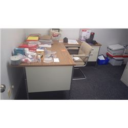 L-shape desk w/chair and office supplies