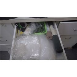 2 drawers of plastic bags, packing tape and shrink wrap