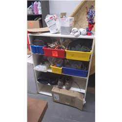 Shelving w/contents (coveralls, gloves, knee pads and miscellaneous items