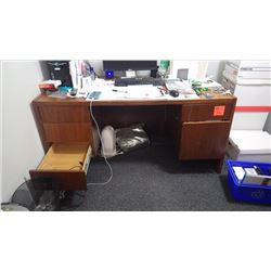 Office desk with drawers and matching two door cabinet