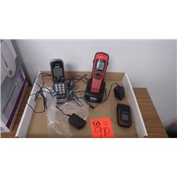 Uniden cordless phone set, main unit is water proof, and one samsung cellular flip phone