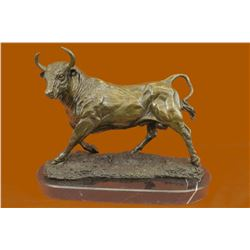 Solid Bronze Sculpture Of A Bull on Marble Base