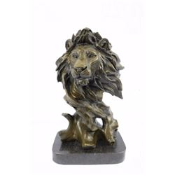 Animal edition African Male Lion Bust Bronze sculpture on Marble base Statue