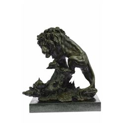Art Deco Bronze Sculpture African Mountain Lion With Cub Statue on marble base Figurine