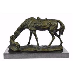 Dog And A Horse Friendship Bronze Sculpture on Marble base Statue