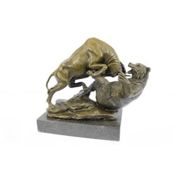 Hot Cast Stock Market Bull Vs Bear Bronze Sculpture on Marble Base Statue