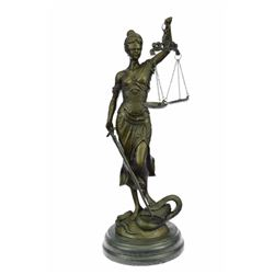"14"" tall Heavy Solid Bronze Lady Blind Justice bronze Statue on marble base sculpture"
