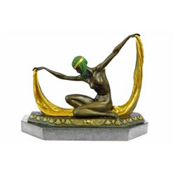 Graceful Nude Dancer By Mirval Bronze sculpture on Marble base Figurine