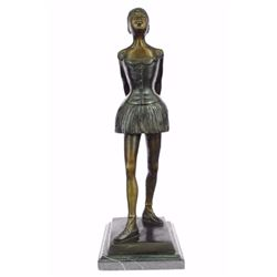 "12 LBS Tribute To Degas Little Ballerina Bronze Sculpture (21""X8"")"