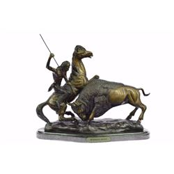 "23 LBS Buffalo Hunt Solid Bronze Statue on Marble base (13""X18"")"