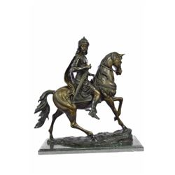 "34 LBS Degas Large Arab Prince Sitting On Arabian Horse Bronze Sculpture (21""X23"")"