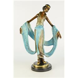 "14 LBS Multi Color Patina Hot Cast Ribbon Dancer Bronze Sculpture (19""X13"")"