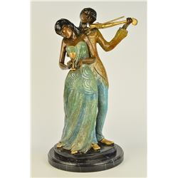 "18 LBS Man Serenading Young Lady Violin Player Bronze Sculpture (19""X11"")"