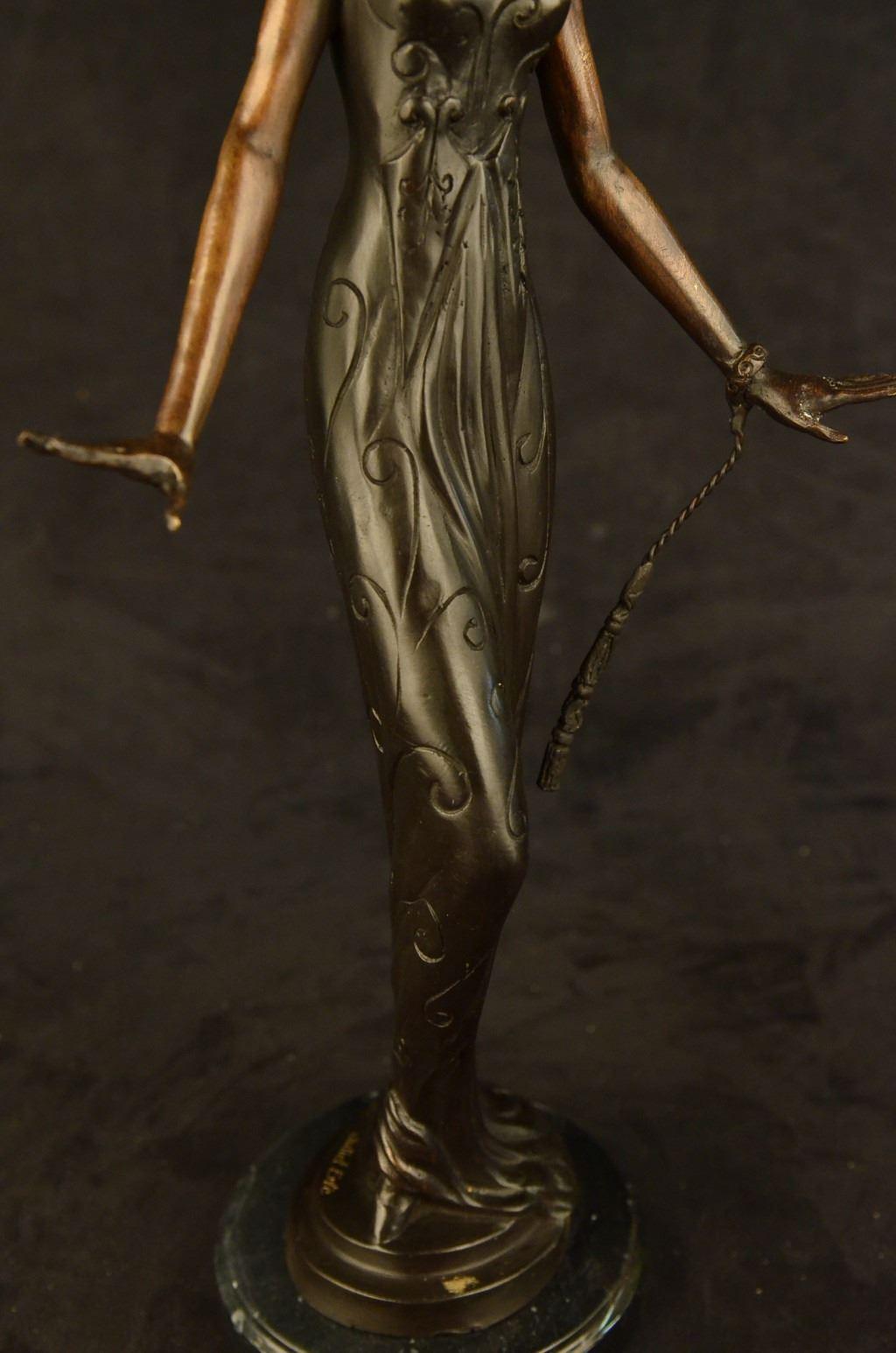 Art Deco Vintage Theater Jazz Singer Actress Dancer Bronze Marble Statue Artwork