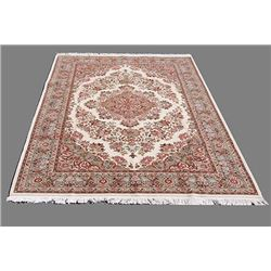 tabriz hand woven floral design with silk higlights