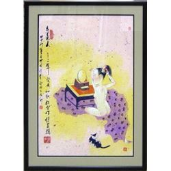 Original hand painted vintage Japanese color drawing