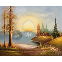 Simply gorgeous sunset in the woods bill Boswell painting