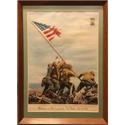 Marines on MT. Suribachi, print and first issue stamp