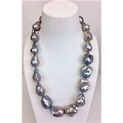 19 inch large fresh water silver Baroque pearl necklace