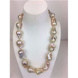 19 inch very large fresh water ivory light pink pearl necklace