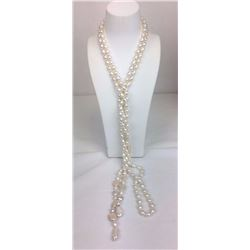 80 inch multi shape fresh water pearl necklace