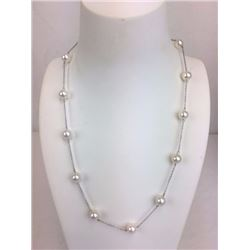 18 inch 14k white Gold and perfectly round fresh water pearl necklace