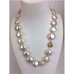 18 inch 24 large coin fresh water pearl necklace