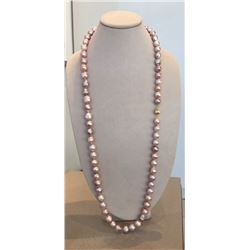 40 inch long pink fresh water pearl necklace