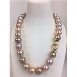 18 inch gold and pink round fresh water pearl necklace