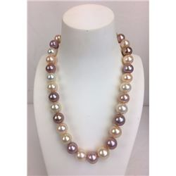 17 inch beautiful round multicolor fresh water pearl necklace