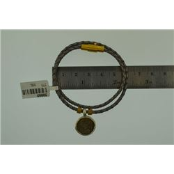 Gray Leather silver coin Bracelet