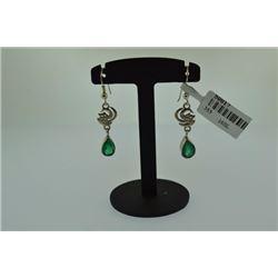 Handmade green aqeeq liberated freedom Earring