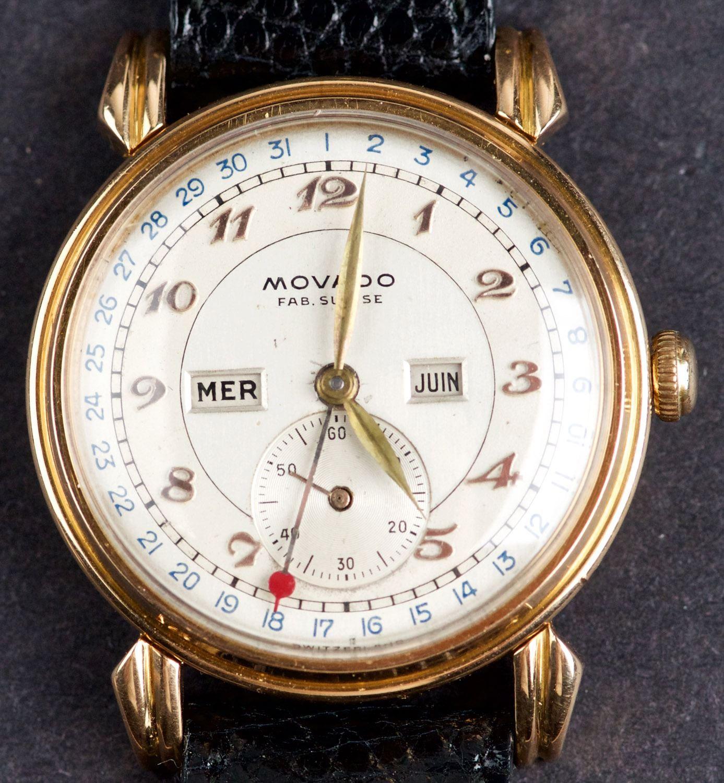 eb2a62a665 Image 1 : Vintage 18 Kt Gold Movado Calendograph Triple-Date Calendar  Wristwatch ...