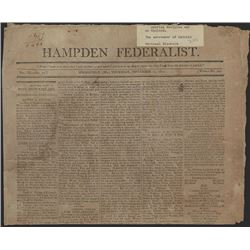 Hampden Federalist, September 10th, 1812, Newspaper With War of 1812 Content.