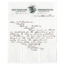 New York Life Insurance Co., 1881 Letter written to Helena, Montana.